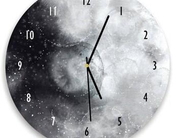 Watercolor Moon Clock, Full Moon Wall clock, Moon Art, Watercolor Moon Clock, Black and White Wall Art, Celestial wall decor