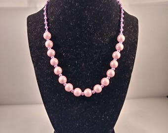 Purple bead, pearl, and seedbead necklace and bracelet set, jewellery set, jewelry set, bead jewelry, pearl jewelry