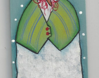 Green Vested Snowman Ornament