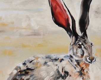 Do You Hear What I Hear jackrabbit giclee reproduction on paper with acid free mat