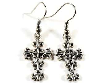Silver Cross Earrings, Cross Charm Earrings, Catholic Jewelry, Christian Earrings, Religious Earrings, Teen and Women's Jewelry, Gift Idea