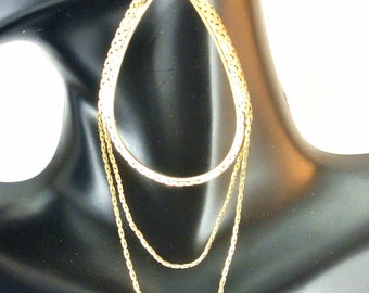 Gold Tone Chain Teardrop Dangle Earrings Vintage Earrings Triple Chain Earrings Gold Tone Earrings Teardrop Earrings