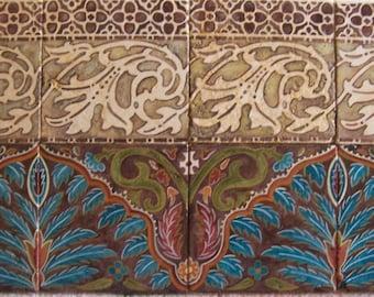 Moroccan, hand painted tile, mural, original art, tumbled stone, Glenda Okiev
