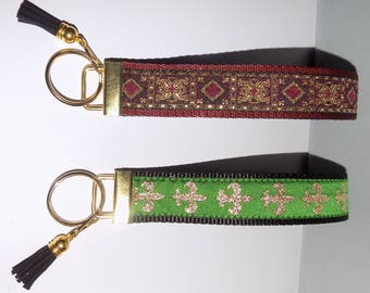 2 Renaissance Pattern & Metallic Gold Wide KEY FOB Wristlets