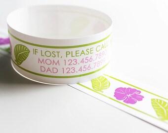 Custom Luau Vinyl ID Bracelets - Personalized ID Bands - #Travel #Safety #Kids