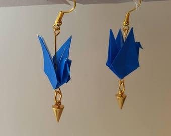 Navy Blue origami earrings