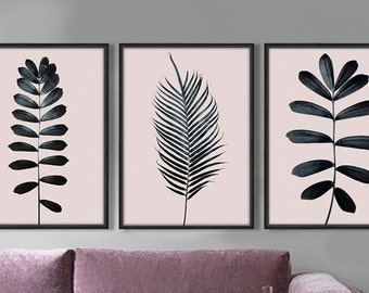 Set of 3  Modern Painting Nordic Poster Plant Leaves Black And White  Art Print 300 dpi Downoald Print Wall Art Home Decor  Illustration