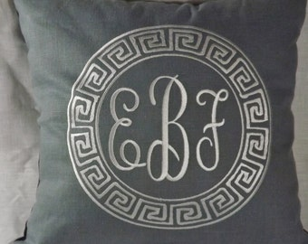 Embroidered Pillow with Monogram Centered in the Greek Key Frame
