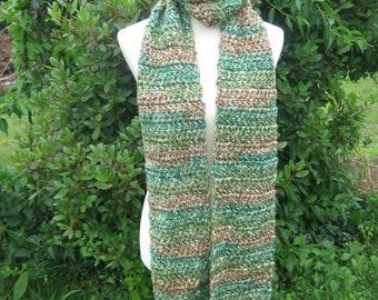 Crochet Scarf; Handmade; Multicolor; Brown; Green