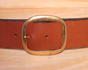 Brass 2 Inch Oval Buckle with no belt strap