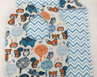 Reversible Monsters Bib & Burp Cloth Sets