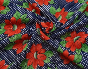Blue-Red and Green Floral Design Crepe Fabric-F8059