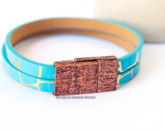 Bohemian Bracelet, Boho Turquoise Copper Faux Leather Cuff Bracelet (6.5 inches)