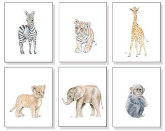 Safari Nursery Prints Safari Nursery Art, Baby Animal Nursery Baby Animal Prints, Jungle Nursery Wall Art Nursery Decor Childs Watercolors 6