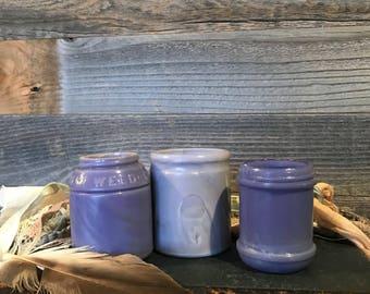 Vintage Lavender MILK GLASS JARS Ingram's Milk Weed Cream- Pat 1892- Armour Packers Chicago- D96