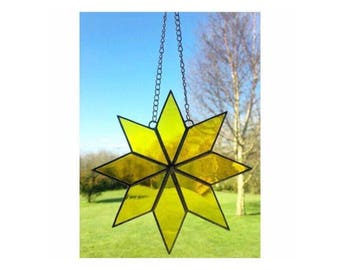 Stained Glass Yellow Star Suncatcher Decoration