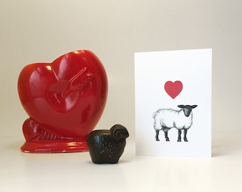 Sheep love card for any occasion. Anniversary card, baby shower, Mothers Day, or just a love note. Blank inside.