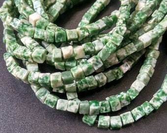 Natural White Green Stone Cube beads 4x4x4mm- approx 90pcs/Strand
