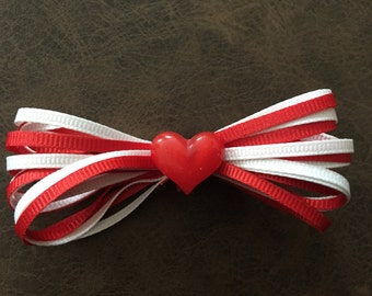 Red and White Ribbon Hair Clip with Resin Heart