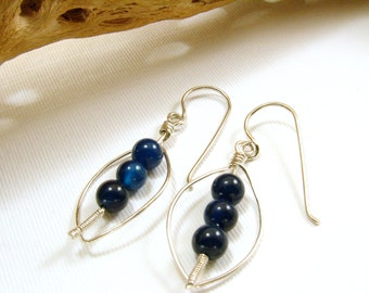 Sterling Silver and Dumortierite Earrings