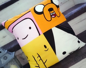 Finn the human, jake the dog, adventure time, cotton character cushion cover, pillow case, cushion, geek gift, gift for men, girl gamer