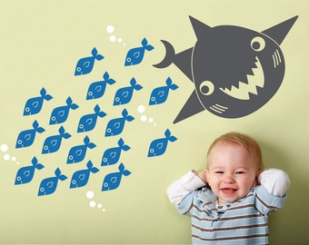 Ocean Nursery Shark Wall Decal: Sea Life, Underwater Theme, Kids Cute Under-the-Sea Room Decor