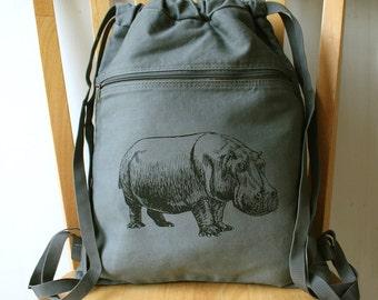 Hippo Canvas Backpack School Bag Laptop Bag