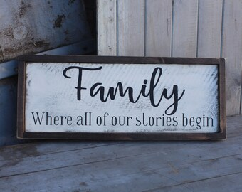 """Family- """"where our story begins"""" Handmade Sign"""