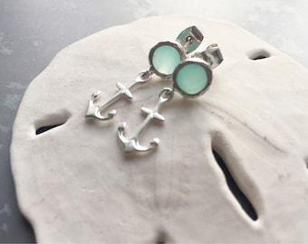 Anchor earrings - aqua glass earrings - silver anchor post earrings