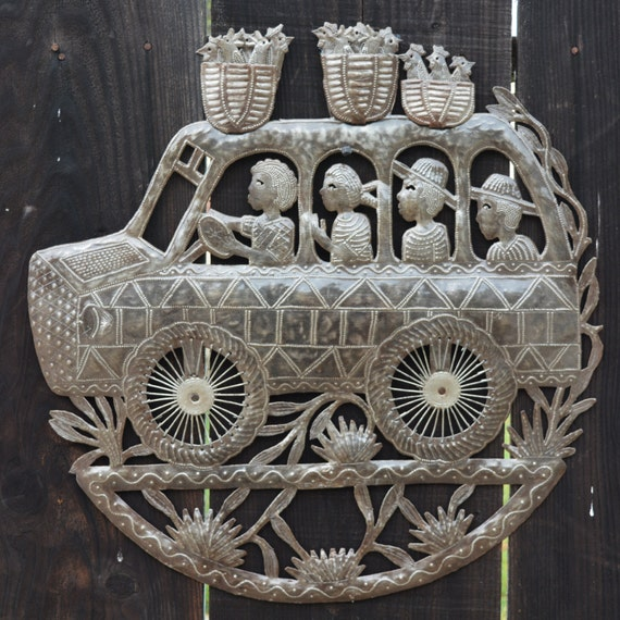 "Tap Tap Bus, Chicken Bus, Off to Market, Haiti Metal Art, Hand Hammered Steel, Garden Art, Recycled Metal Barrel 23"" x 23"""