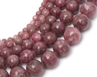 Pink tourmaline (rubellite) 6 x 15 mm round bead