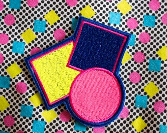 Geo Sonia B - Electric Blue - Abstract- Sparkly -  Embroidered Iron on Patch, Patches, Jacket, Bag, Jeans, Motif, Customise