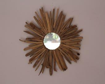 Sun shape Driftwood mirror