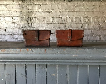 Vintage US Military Brown Leather WW2 BAR Ammo Pouches Rustic Pouches Home Decor