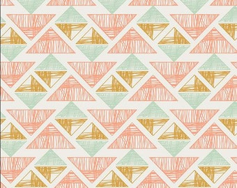 Arizona by April Rhodes Crystal Arrowheads   by Art Gallery Fabrics Peach Coral Mint Gold - by 1 yard