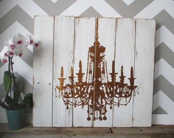 """Reclaimed Wood Distressed White and Copper Chandelier 29"""" X 29"""" Paneled Wall Decor"""