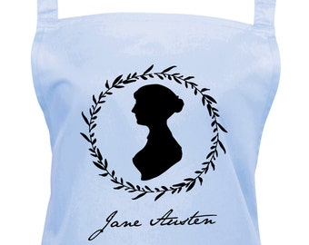 Jane Austen Kitchen Apron With Jane's Own Silhouette and Signature, Jane Austen Gift, Baking Apron, Ref: 1028