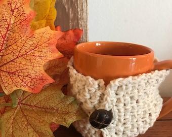 Cream Coffee Cup Cozy