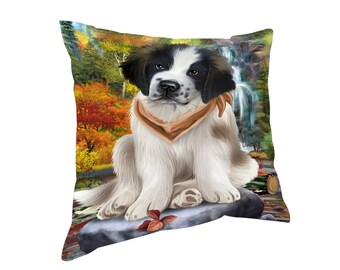 Scenic Waterfall Saint Bernard Dog Throw Pillow