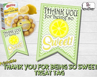 Thanks For Being So Sweet Lemon Themed Printable Tag