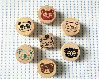 Handcarved Rubber Stamps - Bear Family