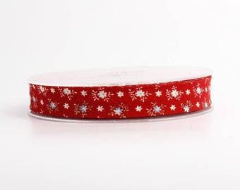 Red and white 18 mm folded 9 floral bias