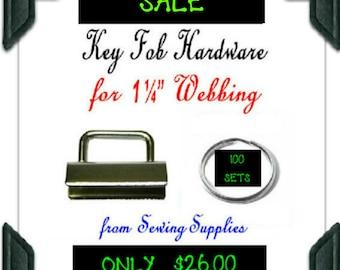 "100 Sets - 1 1/4"" - KEY FOB Hardware, 1.25 inch, Nickel Rectangular Top, 200 pieces"