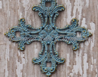 Antique Bronze Patina Ornate Square Cross pendant (P13)