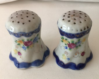 Vintage Hand Painted Floral Salt and Pepper Shakers