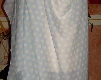 100% Blue polka dot silk chiffon