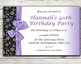 Personalised birthday invitations, Party Invites, 18th 21st 30th 40th 50th 60th Any Age, Design 11
