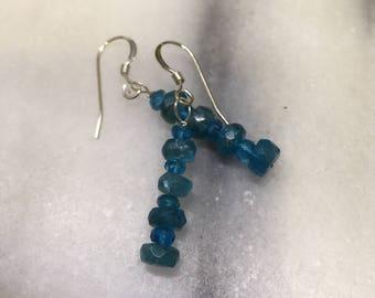 Neon Apatite Stacked Dangle Earrings.  Boho jewelry  Genuine Apatite Sundance Style   Aqua Blue Earrings