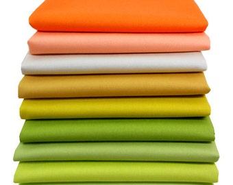 FAT QUARTER BUNDLE Pure Elements Solid Fabric, Art Gallery Fabrics, Cotton Quilt Fabric, Quilting Fabric Bundle, Warm, Citrus Orange Green