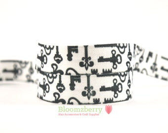"5/8"" PRINTED Fold Over Elastic - White With Black Keys -  Printed Elastic - Keys Printed Elastic - Keys Elastic FOEHair Accessories Supplies"